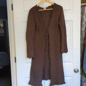 Long cardigan with tie closure